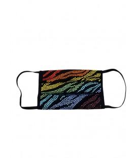 Mascherina riutilizzabile con cristallo zebra rainbow