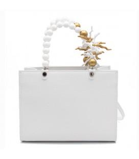 Shopping medium coral white